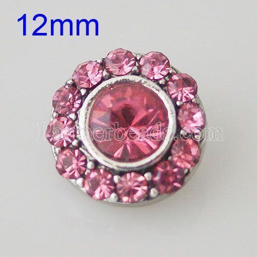 12MM Broche redondo plateado con diamantes de imitación KB1521-S broches de joyería