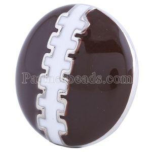 20MM Футбольная оснастка Серебро с гальваническим покрытием коричневой эмалью KC6082 оснастка ювелирные изделия