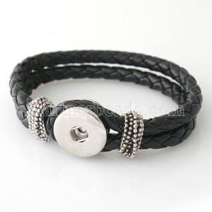 21CM PU leather bracelets fit snaps chunks