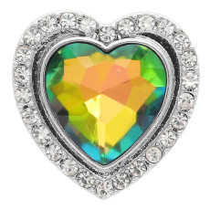 20MM design en forme de coeur snap argenté avec strass KC9920 snaps bijoux