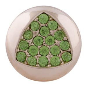20MM Треугольник из розового золота с защелкой и позолотой с зеленым стразами KC7629 оснастка
