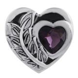 Cœur 20MM en métal argenté avec strass violet foncé et émail KC5546 s'encliquette