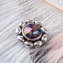 20MM Цветочная оснастка Античное серебро с покрытием из многоцветного страза KB6908 оснастки ювелирные
