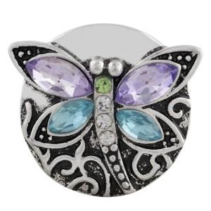 20MM libélula snap plateado con diamantes de imitación púrpura KC7565 broches de joyería
