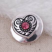 20MM heart snap Silver Plated with rose-red rhinestones KC8596  snaps jewelry