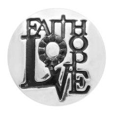 20MM faith snap versilbert mit schwarzen Strasssteinen und Emaille KC9088 schnappt edel