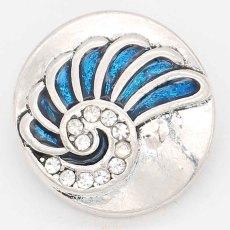 Conque 20MM avec ruban mousqueton émail bleu Plaqué KC6621 s'enclenche bijoux