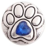 20MM paw snap silver Antique plated with deep blue Rhinestone KC6363 snaps jewelry