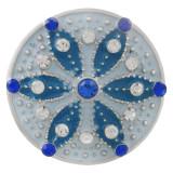 Ruban rond 20MM plaqué avec strass et émail bleu clair KC6554 snaps bijoux