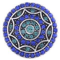 20MM Круглая защелка Античное серебро с голубым стразами KC6026 защелкивается ювелирные изделия