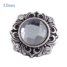 12MM Flower Snap Antik versilbert mit grauem Glas KS6110-S Snaps Schmuck