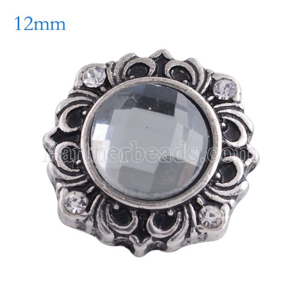 12MM flower snap Antique Silver Plated with gray glass KS6110-S snaps jewelry