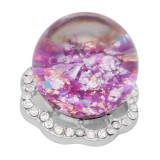 25MM Glossy Spherical opal purple Amber snap Versilbert mit Strass KC7974 snaps jewelry