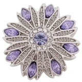 20MM Design Snap Silber Antik plattiert mit lila Strass KC5412 Snaps Schmuck