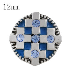 12MM cross snap with blue Rhinestone and blue Enamel KS5206-S interchangeable snaps jewelry