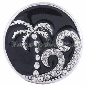 20MM Seaside snap Plateado con diamantes de imitación y esmalte negro KC6151 broches de joyería