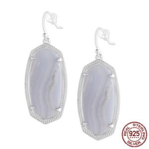 S925 Sterling Silver Kendra Scott style Elle Drop Earrings with purple agate GM6008