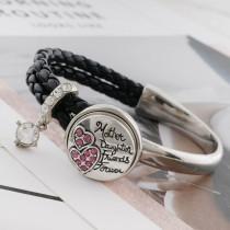 20MM mousqueton ruban plaqué avec strass rose KC6509 s'enclenche bijoux