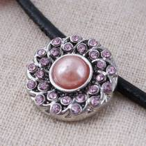 20MM round snap button Antique Silver Plated with pink imitation pearl pink rhinestone  snap jewelry