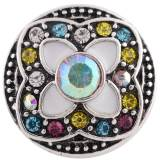 20MM round snap Antique Silver Plated with colorful  Rhinestone and  Enamel KC8759 Multicolor