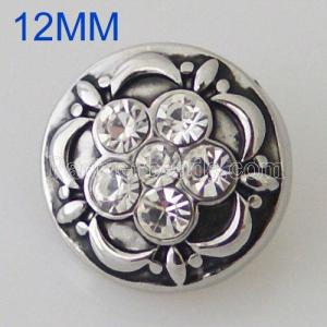 12MM Flower Snap Antik Silber Überzogen mit Strass KB5507-S Snaps Schmuck
