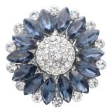 20MM цветок оснастки посеребренная с темно-синим стразами KC7870 оснастки ювелирные изделия