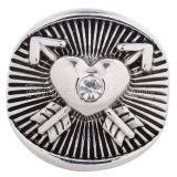 20MM Loveheart Druckknopf Antik Silber vergoldet mit weißen Strasssteinen KC5184 austauschbarer Druckknopf Schmuck