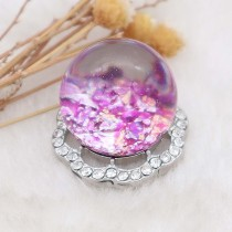25MM Glossy Spherical opal purple Amber snap Silver Plated with Rhinestone KC7974 snaps jewelry
