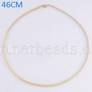 La cadena de moda de acero inoxidable 46CM se ajusta a todas las joyas chapadas en oro FC9021