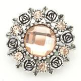 20MM Flower Snap Antik versilbert mit hellorangeem Section Glas KB8919 Snaps Schmuck