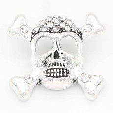 20MM skull snap sliver Plated With rhinestones KC6699 snaps jewelry