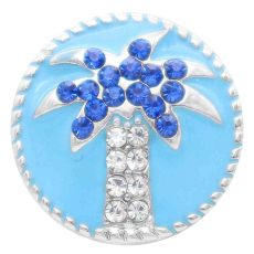 20MM snap tree snap silver plaqué avec strass bleus et émail KC7815 s'enclenche joaillier