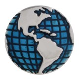 20MM map snap Silver Plated with blue Enamel KC5623 snaps jewelry