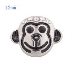 12MM Cartoon-monkey snap with white Rhinestone and Enamel KS5137-S interchangable snaps jewelry