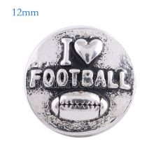 12MM Broche de fútbol Chapado en plata antigua KS6075-S broches de joyería