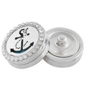 22mm weiße Legierung Anker Aromatherapie / Ätherisches Öl Diffusor Parfüm Medaillon Snap mit 1pc 15mm Scheiben als Geschenk