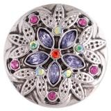 20MM дизайн оснастки серебро Антиквариат с фиолетовым стразами KC5389 оснастки ювелирные изделия