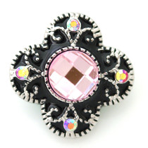 20MM Flower snap Antique silver plated DS5023 with pink Rhinestone interchangeable snaps jewelry