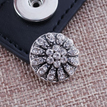20MM Flower snap Antique Silver Plated with white rhinestones KB7706 snaps jewelry