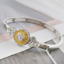 12MM design sliver Plated with rhinestone and yellow enamel KS6340-S