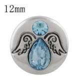 12MM broche de ala plateado con diamantes de imitación azules KS5244-S broches de joyería
