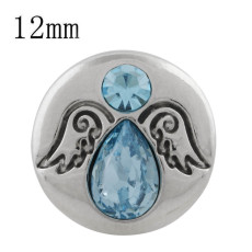 12MM wing snap silver plated with blue rhinestone KS5244-S snaps jewelry