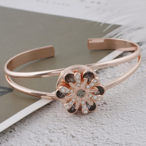 20MM design Rose-Gold Plated with grey rhinestone KC5654 snaps jewelry