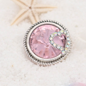 20MM love snap Silver Plated with pink rhinestone KC7820 snaps jewelry