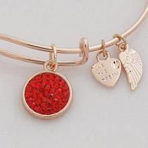 wire bracelet with big metal charms pave crystal mother