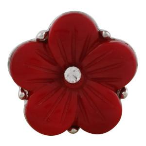 20MM Flower Snap Versilbert mit rotem Acryl und Strass KC9774 Snaps Schmuck