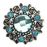 20MM Flower Snap Antik versilbert mit hellblauem Profilglas KB8920 Snaps Schmuck