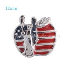 12mm New York snaps Silver Plated with rhinestone and red Enamel KS5093-S snap jewelry