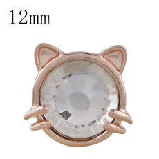 12MM cat Rose Gold Plated with white rhinestone KS5234-S snaps jewelry