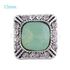 12MM Square snap Antique sliver Plated with green rhinestone KS6160-S snaps jewelry